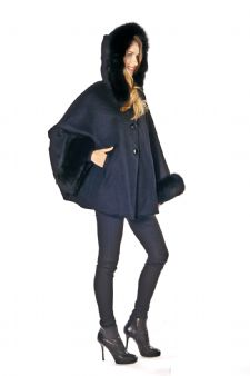 Hooded Black Cashmere Jacket/Cape-Fox Cuffs