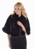 Black Mink Cape - Black Fox Trim
