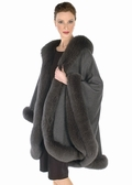 Cashmere Cape-Charcoal Gray Fox Trim - Majestic