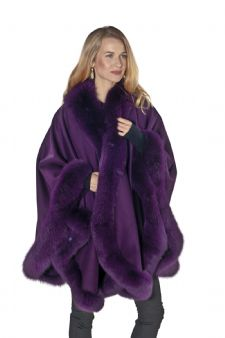Cashmere Cape Fox Trim - Purple Plum -Majestic