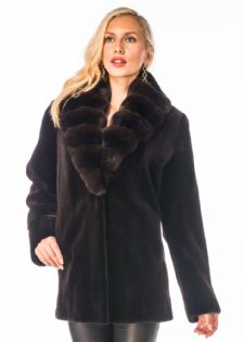 Dark Brown Sheared Mink Jacket Chinchilla Collar