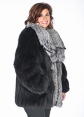 Black Fox Jacket Silver Fox Shawl Collar-Plus Size