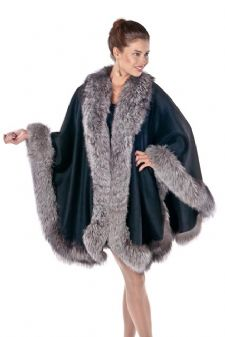 Black Cashmere Cape-Silver Fox Trim - Majestic