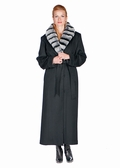 Cashmere Coat-Chinchillette� Trim- Black Cashmere