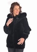 Sheared Beaver Jacket-Black Fox Trimmed Hood