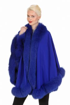 Royal Blue Cashmere Cape - Your Lady