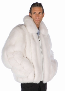 Mens Fur Fox Jacket - Natural White Fox