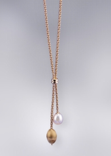 14K Gold Pearl and Gold Lariat Necklace