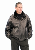 Mens Mink and Leather Jacket - Zippered Reversible