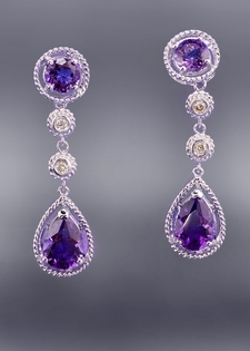 Diamond and Amethyst Double Drop Earring