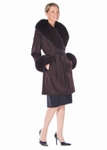 Dark Brown Cashmere Wrap Coat- Fox Trim - 35