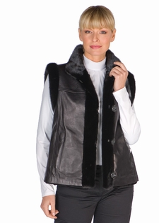 Mink & Leather Vest-Black Sheared  Mink Reversible
