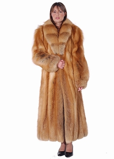 Natural Red Fox Fur Coat - Crosscut Shawl Collar