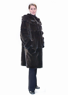 Mink Fur Jacket 3/4 Length w/ Scalloped Hood