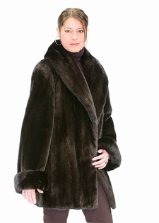 Fur Jacket Ranch Mink-Large Shawl Fur Collar