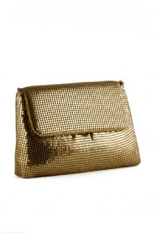 Gold Mesh Evening Bag - Gold Envelope Clutch