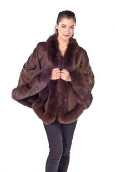 Brown Cashmere Cape - Fox Trim Princess Style