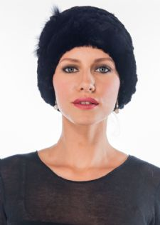 Black Sheared Rex Rabbit  Hat - Flower Trim