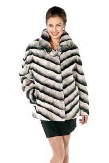 Plus Size Chinchilla Rex Fur Jacket- Chevron