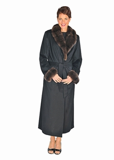 Cashmere Coat Sable Collar & Cuffs Black Cashmere
