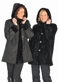 Hooded Reversible Black Sheared Mink Jacket