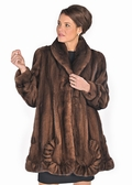 Mink Jacket Scalloped Hem -Soft Brown
