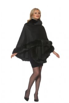 Cashmere Cape - Black Fox Trimmed - Your Lady