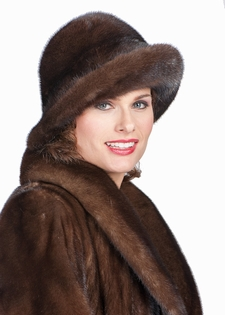 Mink Fur Hat-Soft Brown Mink Fedora