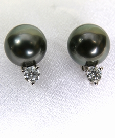 Tahitian Black Pearl Diamond Earrings