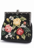 Needlepoint Evening Bag - Vintage Style Black