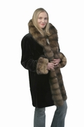 Sable Trimmed Sheared Mink Jacket