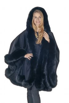 Black Plus Size Cashmere Cape - Detachable Hood