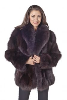Brown Fox Fur Jacket - Shawl Collar 25