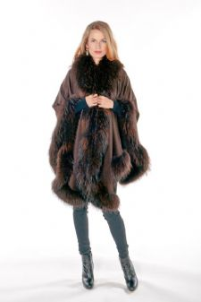 Brown Cashmere Cape-Finn Raccoon Trim - Majestic