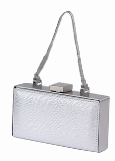 Silver Lizard Finish Leather Evening Bag