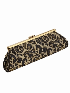 Paisley Moire Evening Bag- Beaded Clutch Purse