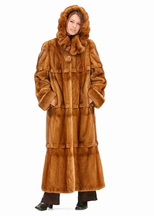 Mink Coat - Golden Cape Collar Scalloped Detaill