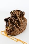 Bronze Soft Mesh Evening Bag Pouch-Glittering Rose