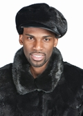 Mens Mink Hat - Mink Cap with Leather Bill