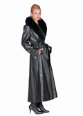 Black Leather Coat - Black Fox Shawl Collar