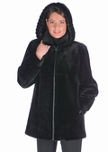 Hooded Sheared Mink Jacket-Detachable Hood