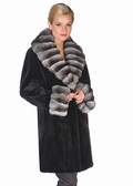 Sheared Mink Fur Jacket-Chinchilla Trim Stroller
