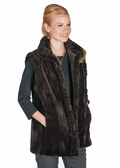 Sheared Brown Mink Vest Reversible-Grooved Collar