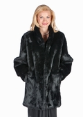 Black Fur Rabbit Jacket-Mandarin Collar-Plus Size