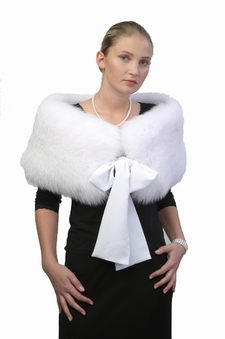 White Fox Capelet Stole - Bow