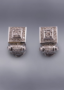 Byzantine Collection Diamond Earring-White Gold
