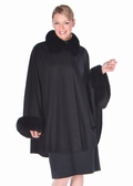 Black Cashmere Cape-Fox Collar and Cuffs