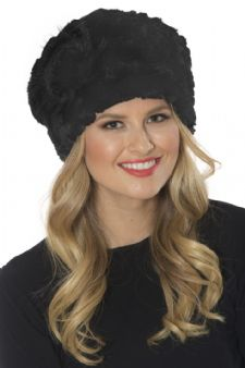 Black Stretch Knitted Fur Hat - Sunflower Detail