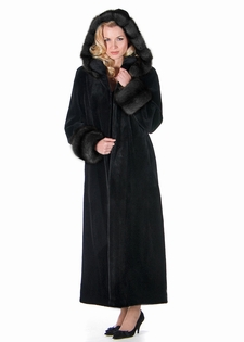 Sheared Mink Fur Coat - Dark Sable Trimmed Hood
