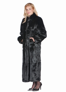 Black Fur Coat - Mandarin Collar- Black Rabbit Fur